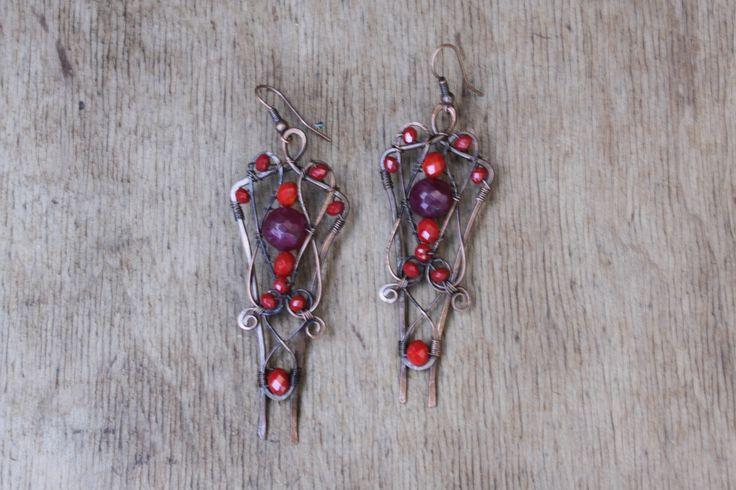 Boucles d'oreilles en cuivre , fabrication de fil de cuivre , des boucles d'oreilles en pierre naturelle. : Boucles d'oreille par cuivre-bijoux