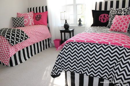Mix and match dorm room custom chevron duvet covers in bold black and preppy pink www.decor-2-ur-door.com Add monograms HOT!!!