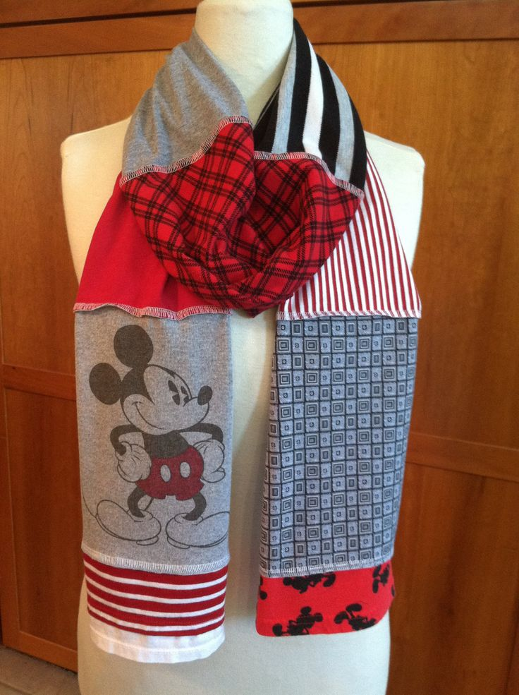 Upcycled Tshirt Scarves | UPCYCLED t-shirt scarf... Mickey Mouse... Disney... red black grey
