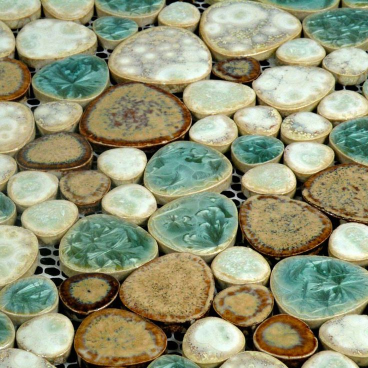 Wholesale Mosaic Art Collection Mixed Heart-shaped Porcelain Pebble Tile Sheets Bathroom Shower Wall Stickers | Hominter.com