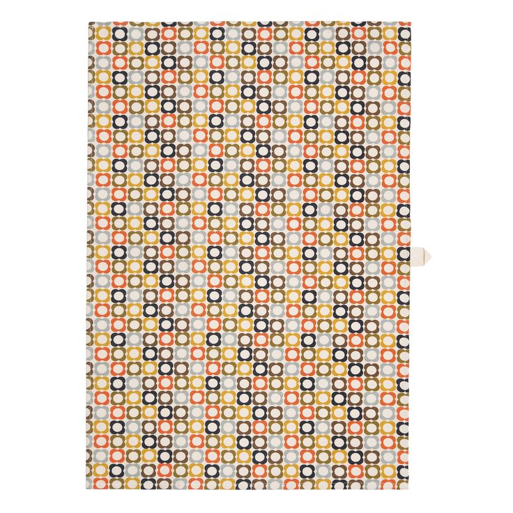 Orla Kiely Cotton Tea Towel In Multi Flower Spot Print With Hook To Hang