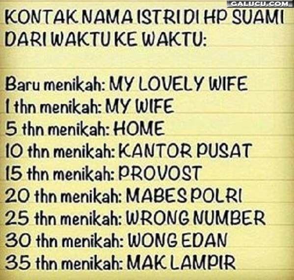 Kontak nama istri di HP suami #GambarLucu