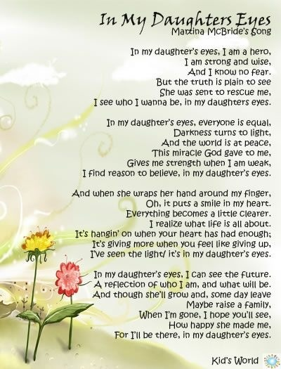 In my daughters eyes - Martina McBride . . . Because I am blessed with the gift of sweet daughters! Thank you God for your good gift!!