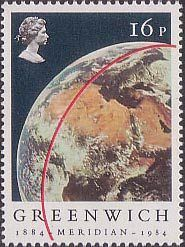 Centenary of Greenwich Meridian 16p Stamp (1984) View of Earth from Apollo 11