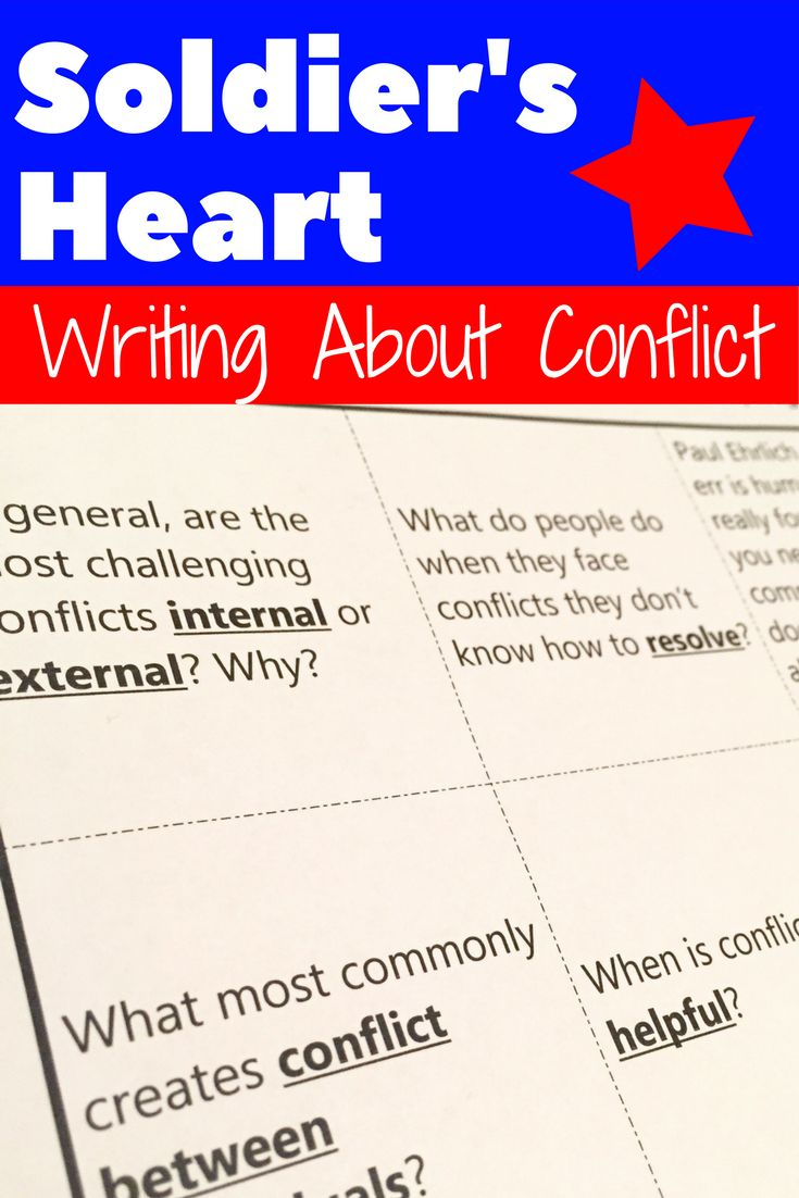 Write about conflict in Soldier's Heart! Add depth, connection, and writing practice to your Soldier's Heart novel study with this tic-tac-toe choice board containing nine engaging writing prompts about different types of conflict in literature.
