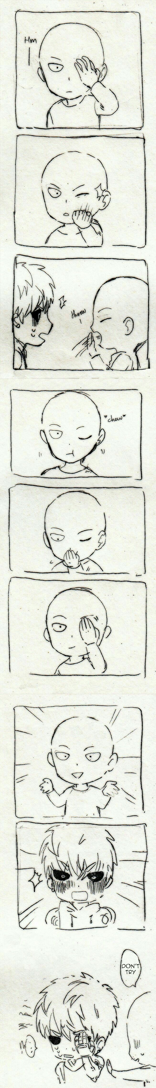Genos, Saitama, comic, text, funny, magic trick, popping eye, cute, chibi; One Punch Man