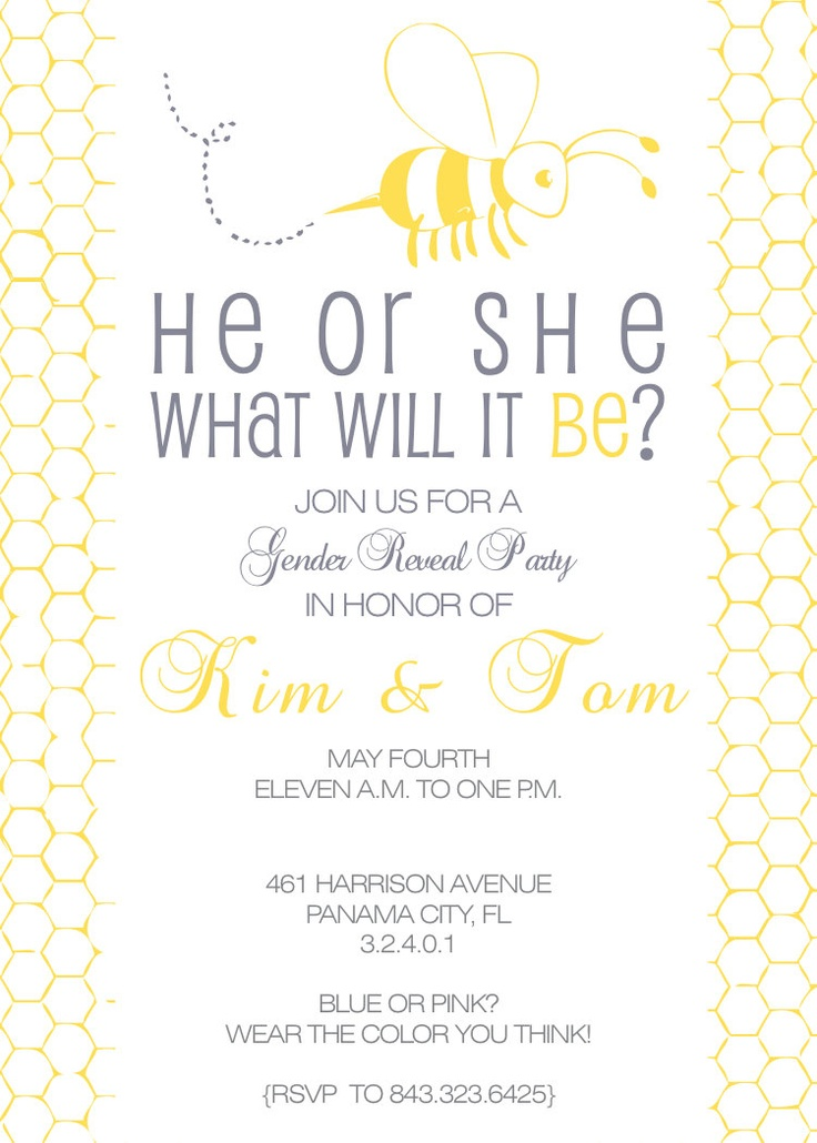 Printable Custom Personalized Gender Reveal Party Invitation, Bubble Bee, Boy or Girl, What Will it Bee. $15.00, via Etsy.