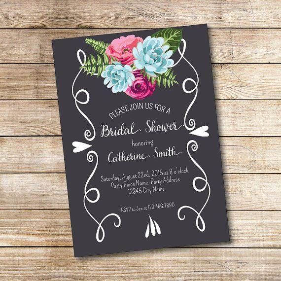 Invitación para Despedida de Soltera - Invitación con flores - Imprimible - Amor - Archivo digital