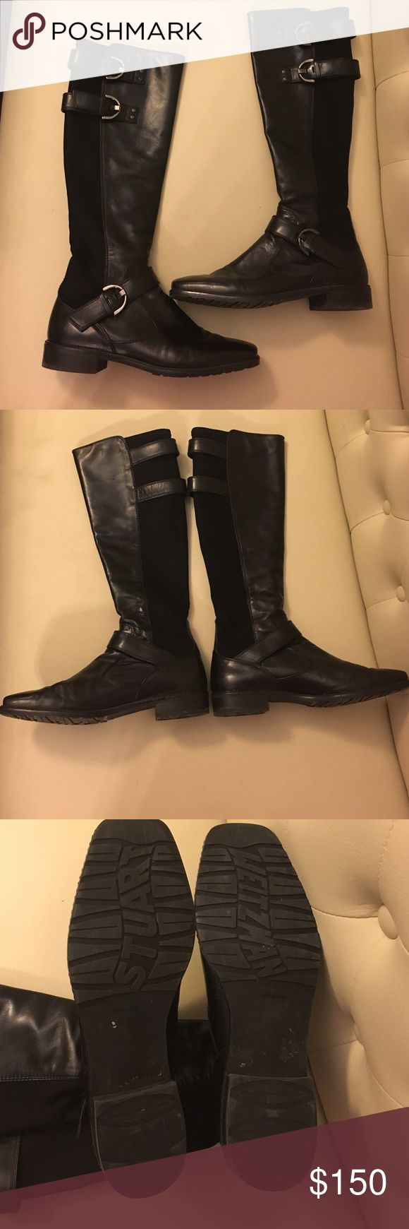 stuart weitzman 5050 boots with accent buckles stuart weitzman 5050 boots with accent buckles. The 5050 has a uniquely stylish design of micro stretch and nappa leather Shoes Combat & Moto Boots