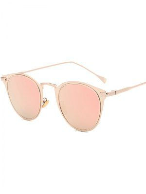 Metal Cat Eye Mirrored Sunglasses - Pink - Pink