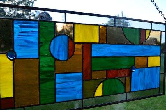 Large Stained Glass Panel with a great Fall / Autumn color ...