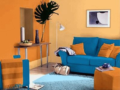 The Uses Of The Complementary Colors Orange And Blue In This Room Make It A Complementary Color
