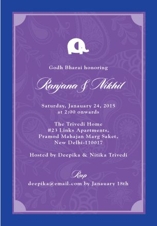 Paisley Elephant | Custom Godh Bharai Invitations
