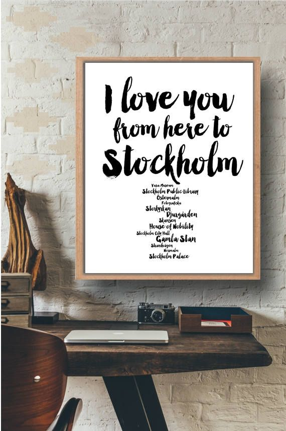 Stockholm Print Art Black and white Art I love you from here to Stockholm Travel Wall Art City art Instant Download by Paffle Design