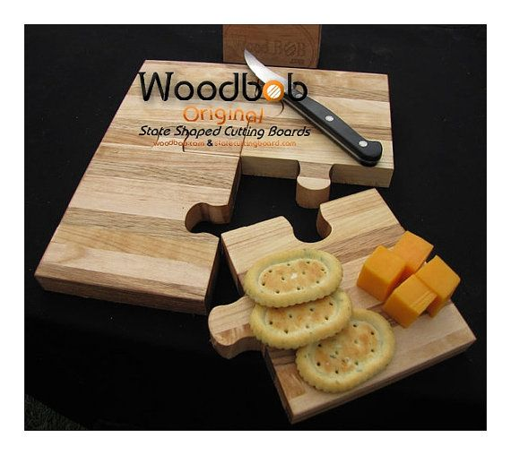 Puzzle personalized cutting board cutting by WoodbobWoodworking