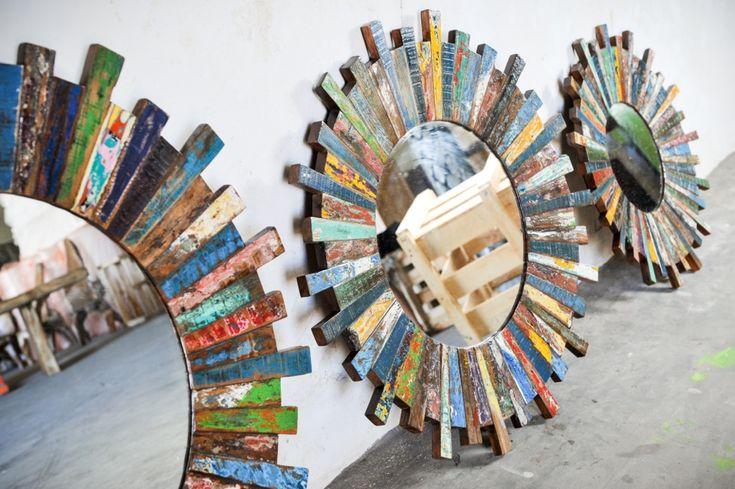 Дизайнерское зеркало, дерево тик из бывших рыбацких лодок, мебель Индонезии, Бали, ванна, гостиная, спальня, mirrow, boat furniture, eco-design, art, Indonesia, Bali
