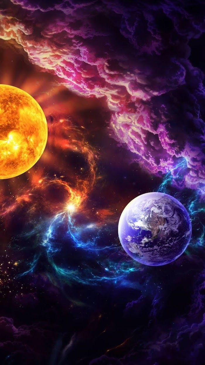 Earth And The Sun Cartoon Image With Galaxy In Different Colors Around Them Purple Galaxy Backgr Cool Galaxy Wallpapers Iphone Wallpaper Earth Galaxy Wallpaper