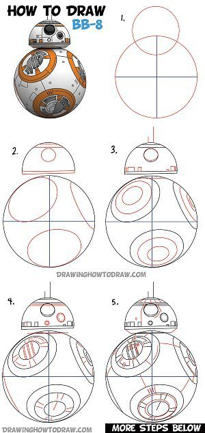 How to Draw BB-8 (Beeby-Ate) the Ball Droid from Star Wars Step by Step Drawing Lesson