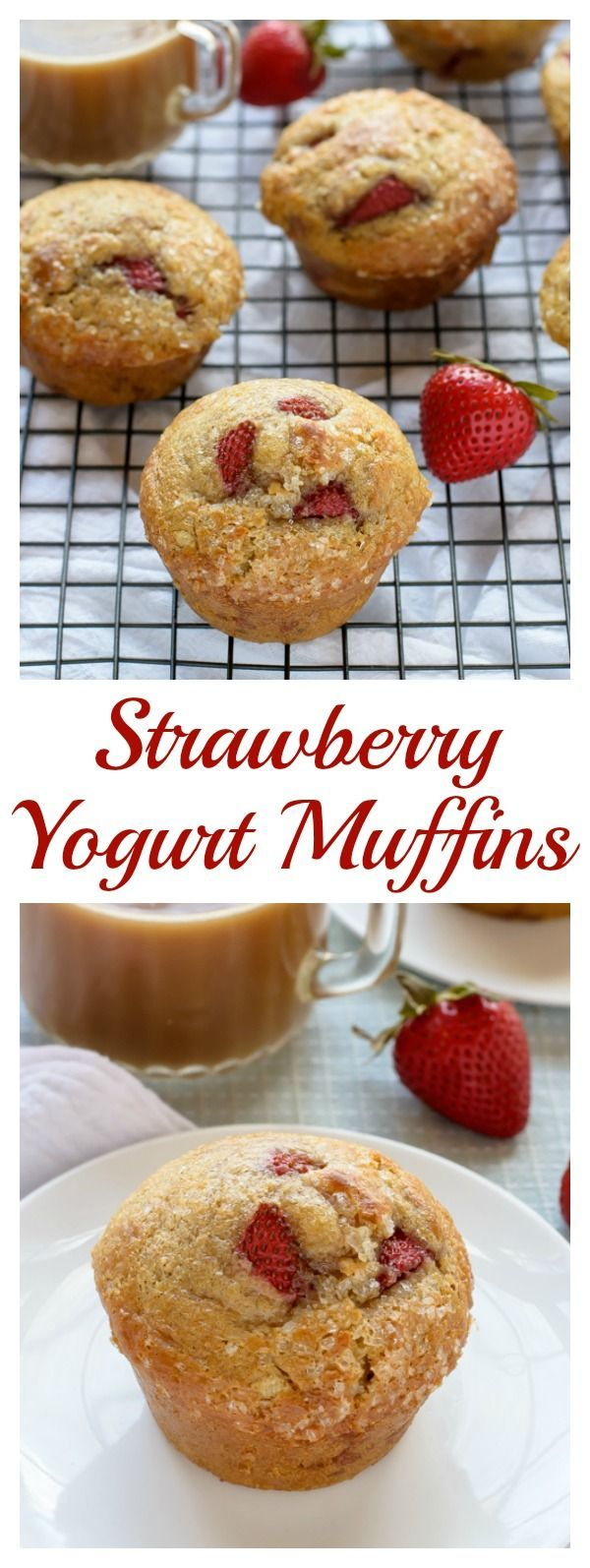 Ultra moist Strawberry Yogurt Muffins. Healthy muffins that taste so delicious, you'll never know they are good for you!