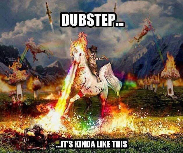dubstep. I think the dapper kitty on the unicorn is my favorite part!