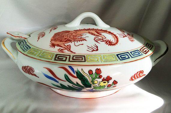 Dragon SOUP TUREEN Asian Porcelain with Phoenix, Vintage