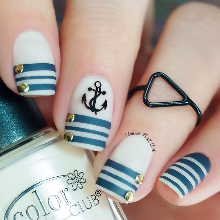 Navy Blue and White Nautical Nails With Anchor ⚓️