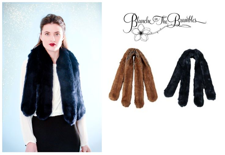 Downton Abbey inspired faux fur racoon tail scarf. By Blanche in the Brambles