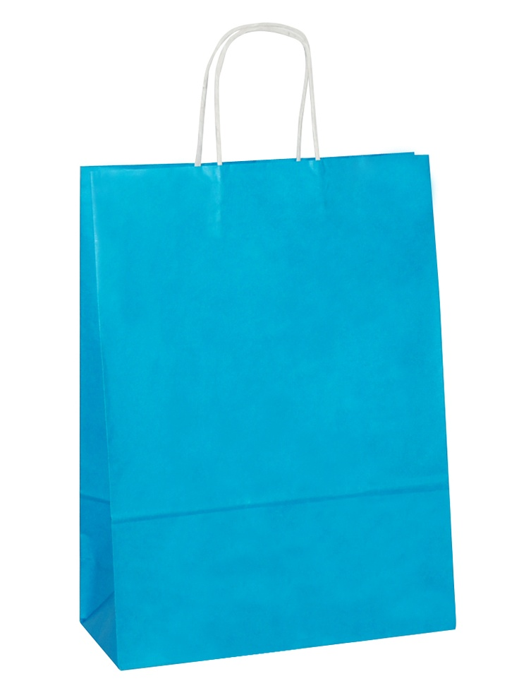 White Carrier Bag Twisted Handle - Solid Turquoise Blue