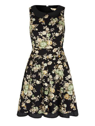 Vintage Floral Print Collar Dress