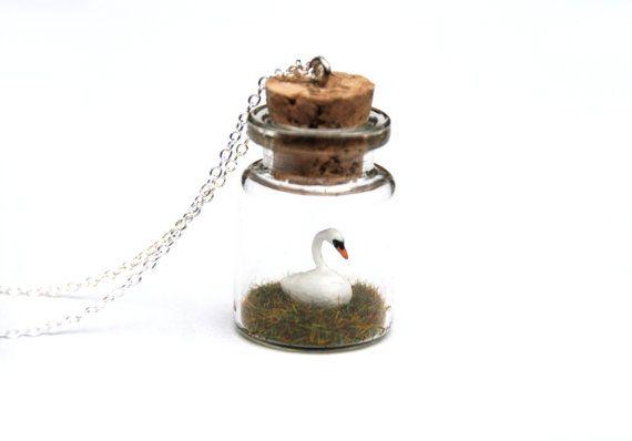 Swan Necklace Jar  Ornithology gift miniature by PeachesandPebbles