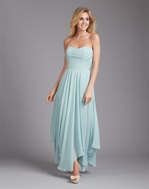 Strapless Chiffon Bridesmaid Dress with Asymmetrical Waterfall Skirt by Allure Bridals (Style 1369)