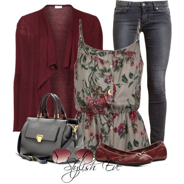 Casual Floral and burgundy.