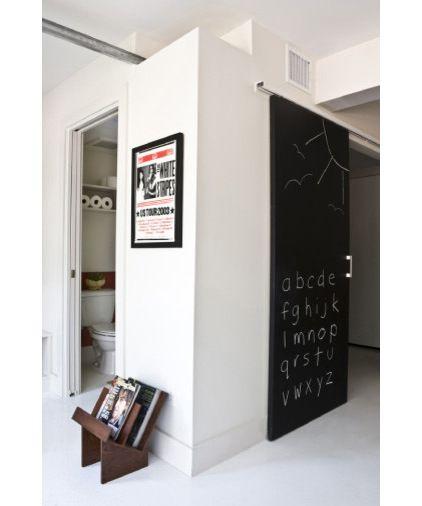 Create a chalkboard door using chalkboard paint.