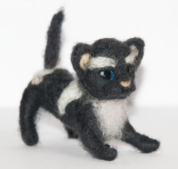 sweet tiny Cat  needle felted miniature small animal by nutkaart