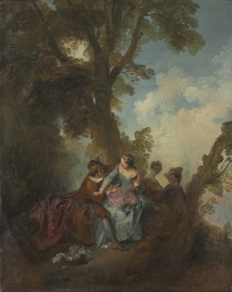 """""""Declaration of Love"""" by Nicolas Lancret (1720) at the Cleveland Museum of Art, Cleveland - From the curators' comments: """"The figures in theatrical costume derive from Italian street performers seen in Paris, while the playful outdoor garden party connects to leisure activities enjoyed by certain Parisian elites. The arts of conversation, music, and painting—all highly valued by French aristocracy—intersect in this work."""""""