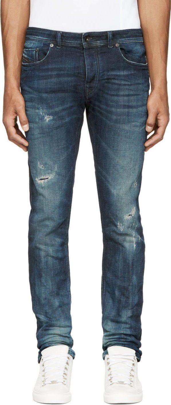 Diesel Black Gold Blue Distressed & Creased Type 253 Jeans
