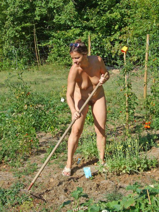 Nudist back yard lawn Russian