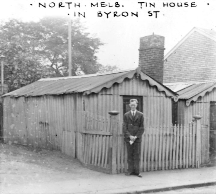 'North Melb.Tin House. Byron St.' 1935. F Barnett (Frederick Oswald) 1883-1972 photographer. F. Barnett Collection. State Library of Victoria.
