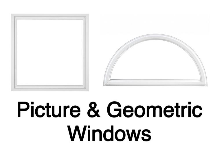 Picture windows come in a variety of shapes and sizes. Geometric windows add character and more light to your home. Both do not open.