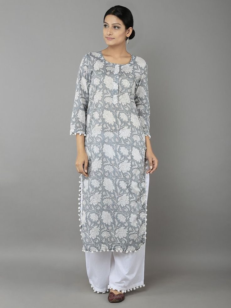 Grey Gobi Jaal Cotton Kurta with White Palazzo - Set of 2