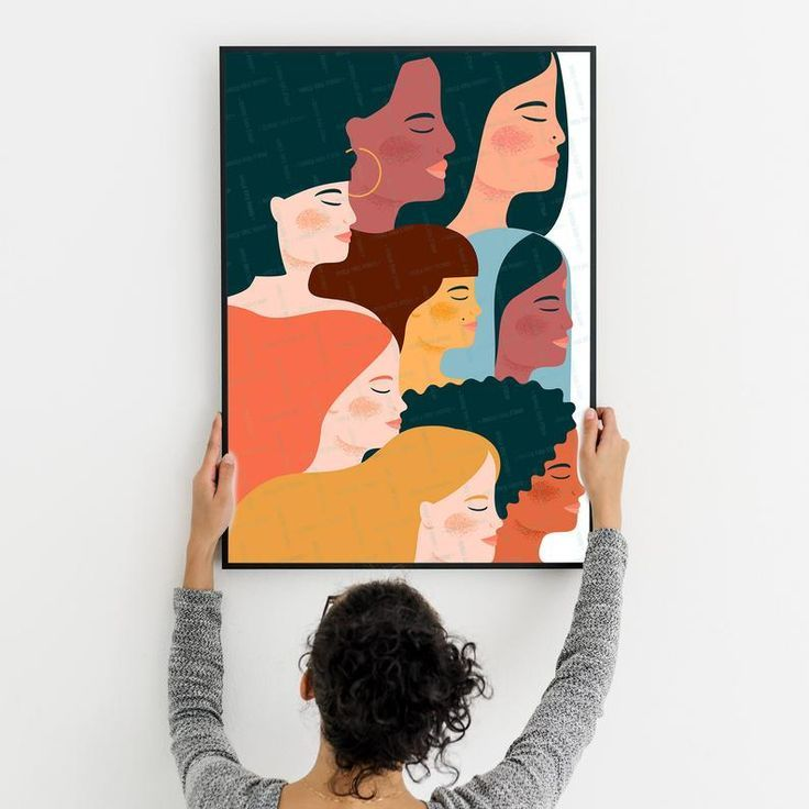 Women Diversity Print Feminist Wall Art Girl Power Printable Woman Illustration Equality Feminism Sisterhood Female Many Races Print Woman Illustration Wall Art Illustration