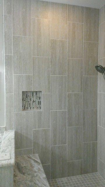 light gray 12x24 floor tile - Google Search | Shower wall ...