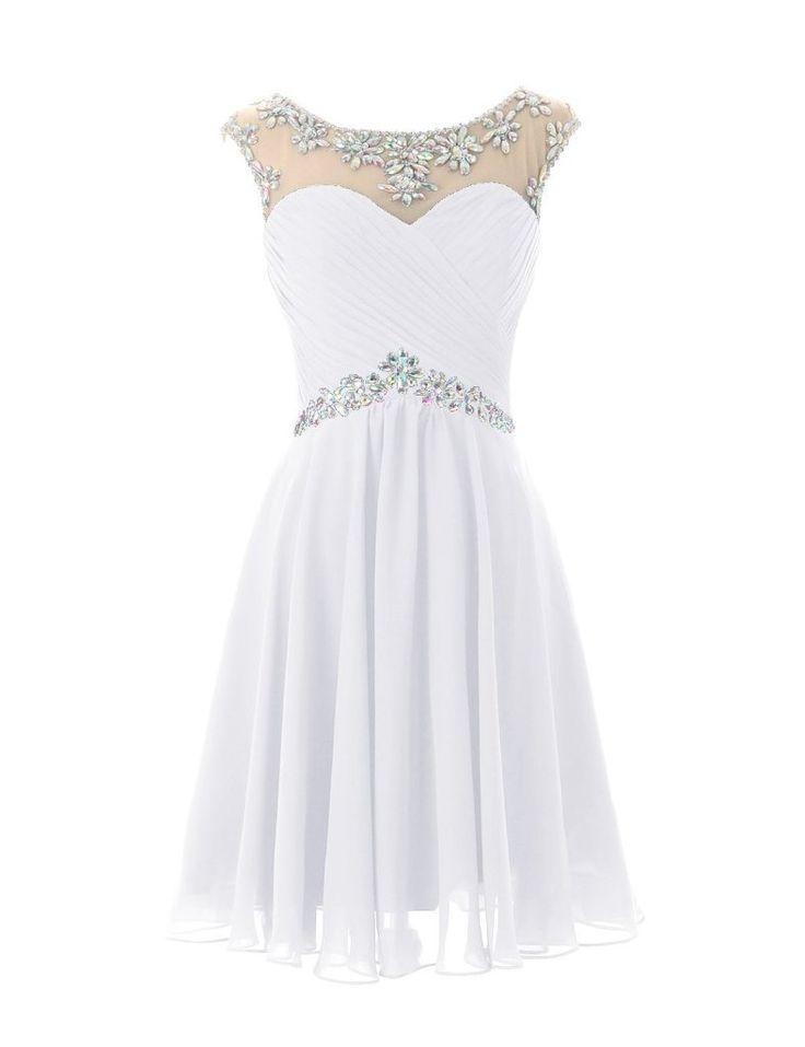 Elegant short white prom dress 2015 by Dresstells with crystal embellished neckline and waist
