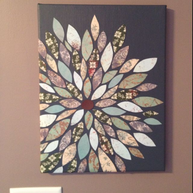 Cs: Inspired by pinterest, this is the one I made!Ideas, Wallart, Diy Crafts, Paper Flower, Diy Canvas, Flower Wall, Diy Wall Art, Scrapbook Paper, Painting Canvas