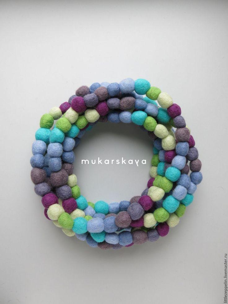 Купить Шарфобус Кутерьма (Морская соль) - колье, бусы, шарф, войлок, шерсть, Валяние, разноцветный