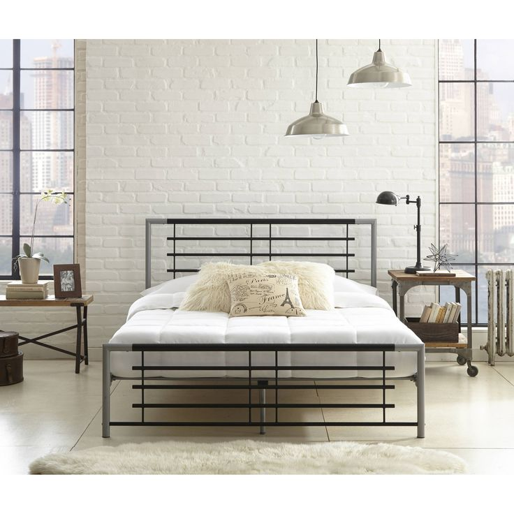 premier annika metal platform bed frame full with bonus base wooden slat system