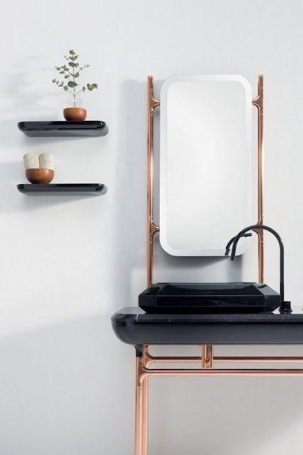 black + copper bathroom