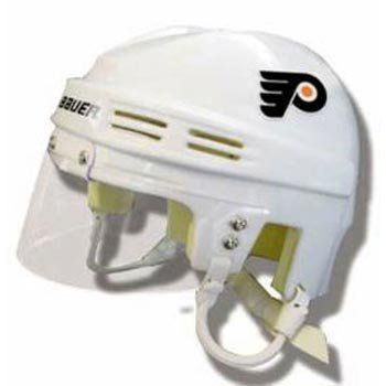NHL Philadelphia Flyers Replica Mini Hockey Helmet  Authentic scale model  Removable eye shield  Authentic foam padding and ear loops  Protective Display Case