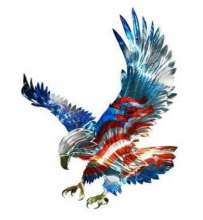 New Large AMERICAN FLAG & BALD EAGLE METAL WALL ART Patriotic Decor