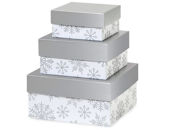 Silver Snowflakes Nested Boxes Small 3 Piece Set Bakery Food